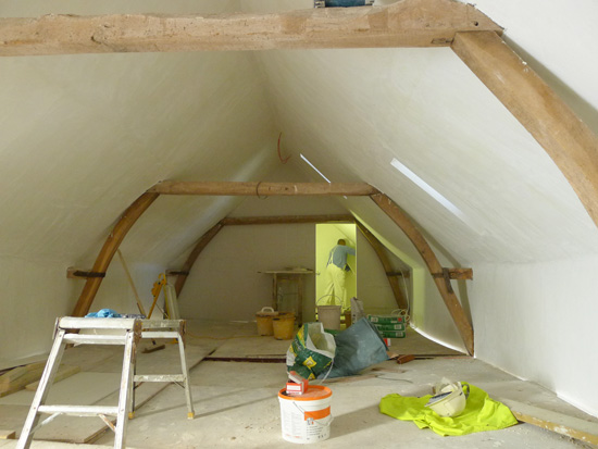 The interior walls are plastered