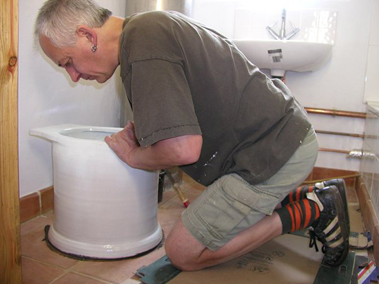 mike checks out the composting loo
