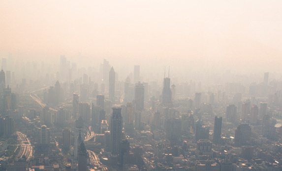 View of the pollution in Shanghai