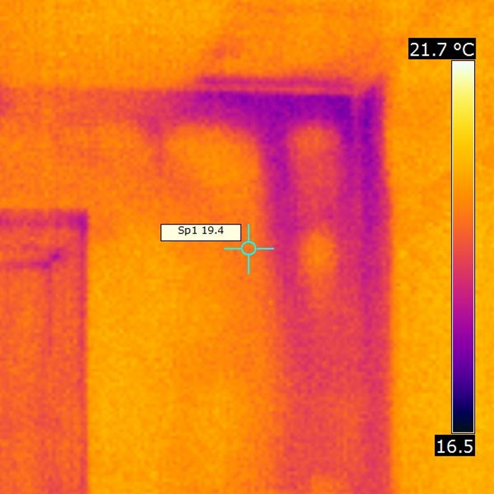 Cold air flowing behind the  dry lining of a new house where it has not been sealed to specification.