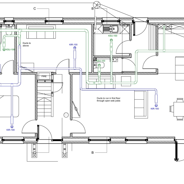 Designing the ventilation heating and hot and cold water for Efficient hot water systems
